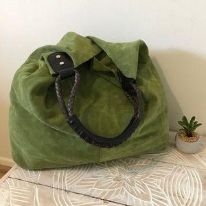 Maurizio Taiuti Genuine Leather Lime Suede Tote